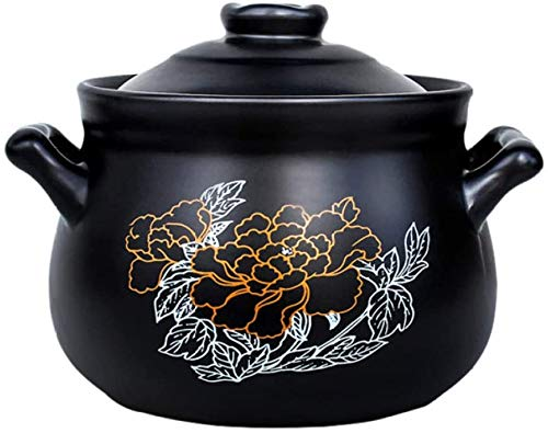 YFMMM Dutch Oven, Enameled Cast Iron 2.7L Pre-Seasoned Pot with Lid with Loop Handles Covered Non-Stick Round Versatile Healthy Design, 2.8-Quart,Black