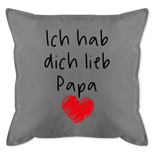 Shirtracer Vatertagsgeschenk Kissen - Ich hab Dich lieb Papa Herz schwarz - Unisize - Grau - Kissen ich Liebe Dich Papa - GURLI Kissen mit Füllung - Kissen 50x50 cm und Dekokissen mit Füllung