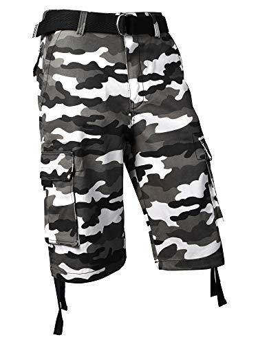 Pro Club Men's Cotton Twill Cargo Shorts (48, White (Camo))