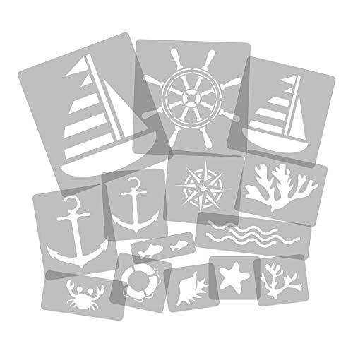 14 Stück wiederverwendbare Kunststoff-Schablonen // Anker - Schiff - Segelboot - Kompass - Meer // 34cm bis 8cm // Kinderzimmer-Dekorarion // Kinderzimmer-Vorlage