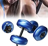 ZRBD-xh Travel Fillable Dumbbells for Muscle Toning, Cast Iron Dumbbell Set for Bodybuilding Fitness Weight Lifting Training Home Gym,Blue,5~10KG (Color : Blue, Size : 5~10KG)
