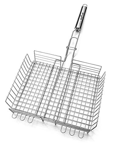 RUSTLER Grillkorb Fischhalter aus Edelstahl in Silber 25 x 31,5 x 5,5 cm Kochfläche, Aufhängeöse und höhenverstellbaren Grillnetz für Gemüse, Fisch und Fleisch