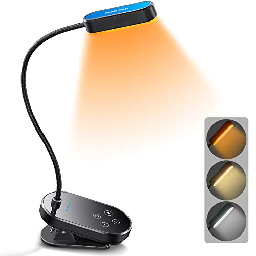 Glocusent Mini Clip-on Rechargeable Book Light for Reading in Bed, 16 LEDs with 3 Color Modes & 5 Brightness Levels, Lightweight & Small, 80+ Hours Reading Time, Perfect for Reading in Bed & Travel