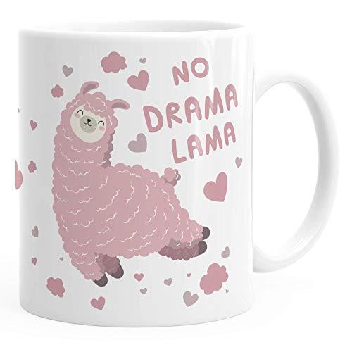 MoonWorks® Kaffee-Tasse Spruch No Drama Lama Tier Motiv rosa Bürotasse lustige Kaffeebecher weiß Keramik-Tasse