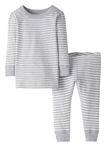 Moon and Back by Hanna Andersson Pyjama 2 pièces à rayures, à manches longues, en coton bio pour tout-petits, bébés, Rayure grise, 5 ans (107-117 CM)