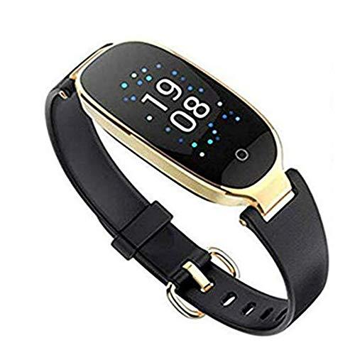 Winnes Fitness Tracker, Damen Smart Fitness Watch mit Schlaf-Monitor, Pulsmesser Wasserdicht Smart Watch Schrittzähler Kalorienzähler Unterstützung iOS Android S3 (Schwarz-Gold)