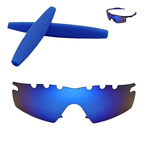 Walleva Entlüftete Ersatzgläser + Gummi für Oakley M Frame Strike Sonnenbrille - Mehrfache Optionen (Eisblau Polarisierte Linsen + Eisblau Gummi)
