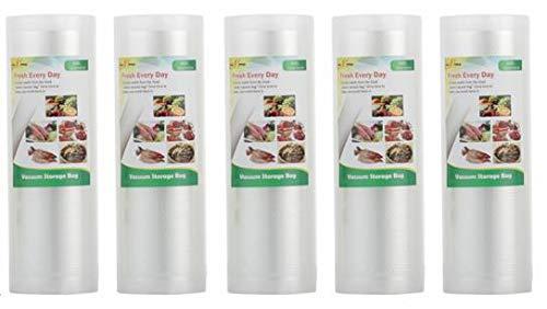 5 Vakuumrollen 15x500cm (Vakuumbeutel) für Lebensmittel | Vakuumier-Folie | Sous-vide | Profi-Qualität für Folienschweißgeräte