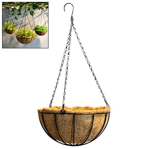 Macabolo Fioriera sospesa in metallo da 10 pollici con filo di acciaio rotondo, per vasi da fiori, per cestini pensili