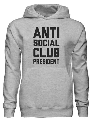 Anti Social Club Presidente Pullover Felpa con cappuccio bnft, Grigio, L