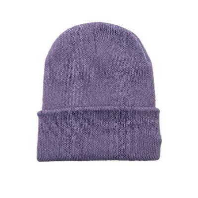 Sombreros de Invierno para Mujer nuevos Gorros de Punto sólido Lindo Sombrero niñas otoño Gorros Femeninos Gorros más cálidos Gorra Informal para Mujer-Lightpurple
