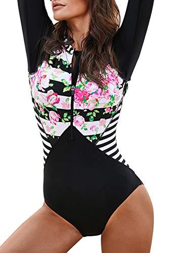 Aleumdr Women's One Piece Rashguard Long Sleeve UV Protection Swimsuit Top with Bikini Bottom Surfing Swimwear Bathing Suits Floral Striped 2XL 18 20