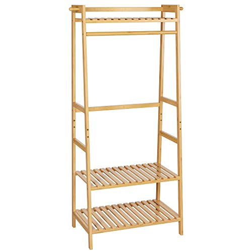 Homfa Bamboo Coat and Shoe Stand Garment Rack Coat Clothes Rail 3 Tiers 2 Side Hooks Bags Shoes Storage for Hallway Bedroom 70x42x164cm