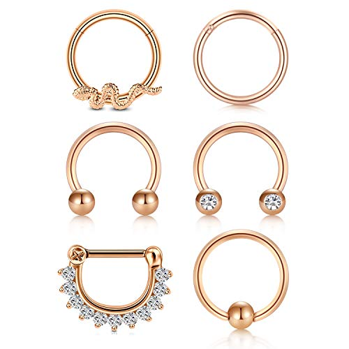 Briana Williams 6stk Chirurgenstahl Septum Nase Ring Clicker Set 8mm 16G Helix Tragus Daith Cartilage Lippe Nase Piercing