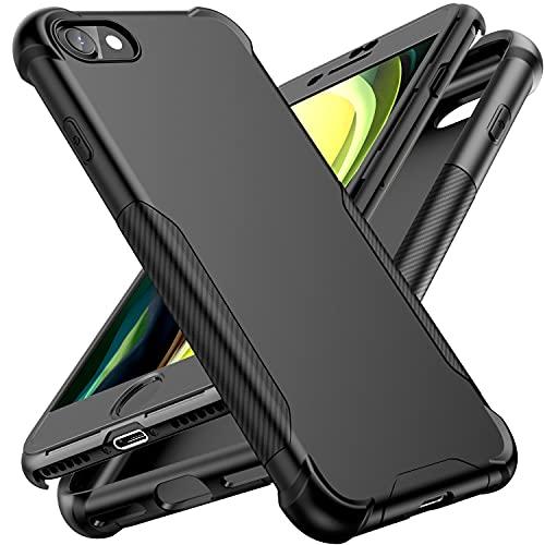 ORETech Compatibile con Cover iPhone SE 2020/7/8, Custodia per iPhone SE 2020/8/7, con [2 X Pellicola Protettiva Vetro Temperato]2 in1 Ultra Sottile Antiurto Hard PC TPU Silicone Protettiva Cover-Nero
