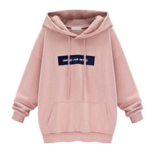 Moonuy Damen Hoodies, Frauen Herbst/Winter Neue Stil Langarm Hoodie Sweatshirt Jumper mit Kapuze Pullover Stilvolle Kleidung Elegante Bluse S~6XL (L, Rosa)