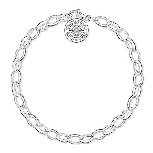 Thomas Sabo Charm Club Bracciale da Donna, Argento 925 e Diamante Palla Bianco, Taglia 21 cm