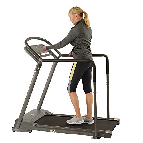 Sunny Health & Fitness Walking Treadmill with Low Wide Deck and Multi-Grip Handrails for Balance, 295 LB Max Weight - SF-T7857,Black