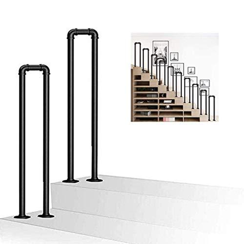 TELLMNZ U-Shaped Handrail Brackets Stair Rail Wrought Iron Galvanized Pipe Matte Black Stair Parts for Outdoor Indoor Stairs Anti-Slip Elderly Children Safety