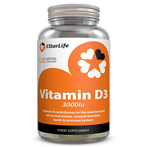 5StarLife Vitamin D3 3000iu, 120 Softgel Capsules, Daily VIT D3, 4 Months Supply, Made in The UK