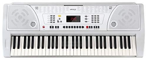 Funkey 61 WH Tasten Keyboard Weiß (100 Klangfarben, 100 Begleitrhythmen, Lernfunktion, Cinch-Ausgang, Netzteil, Notenständer)