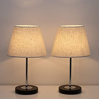 HAITRAL Modern Table Lamps - Bedside Desk Lamps, Small Nigtstand Lamps Set of 2 for Bedroom, Office, Living Room with Metal Base and Fabric Shade - Black/Linen
