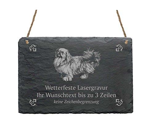 Schiefertafel « PEKINESE - PEKINGESE » IHR TEXT + MOTIV - 22 x 16 cm - Schild mit Hund - Peking-Palasthund