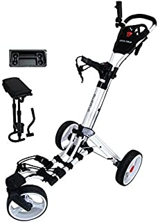 Swerve Founders Club 360 Swivel Wheel Qwik Fold Golf Push Cart with Deluxe Seat