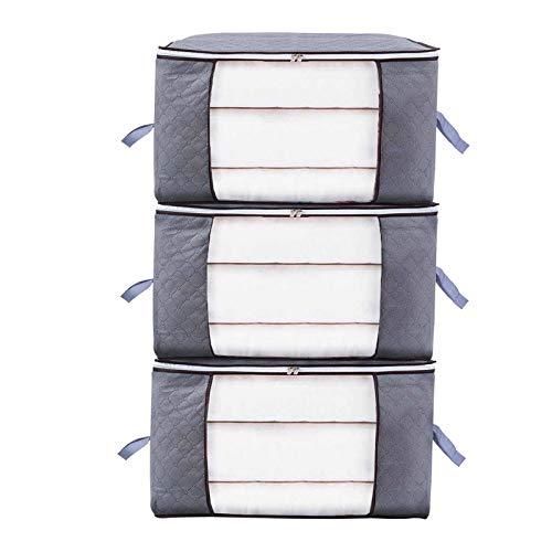Niviy Bolsa de Almacenamiento de Edredón - Tela no tejida Debajo de la Cama Bolsa de Organizador para edredón Manta Ropa de temporada (gris, 3 piezas X 60 X 40 X 35 cm)