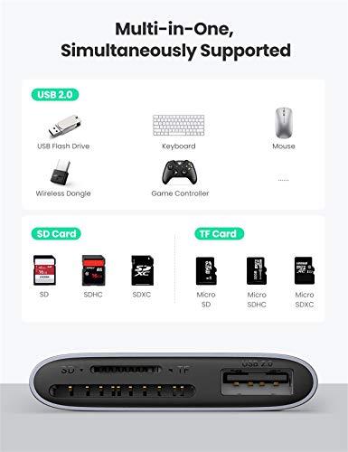 UGREEN USB C Kartenleser Type C Card Reader Kartenlesegerät Type C auf USB 2.0 SD/Micro SD (TF) Adapter kompatibel mit Galaxy S9/S10/S20/Note9/Note 10+ MacBook Air 2020/2018 iPad Pro 2020/2018