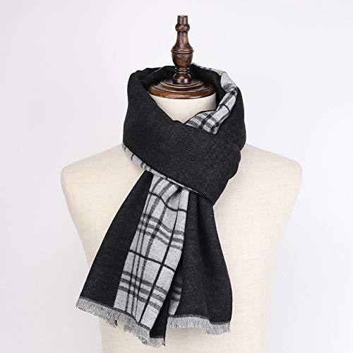 Desconocido Bufanda de Invierno para Hombre, Color Negro y Gris, Tela Suave, cálida, amigable con la Piel, Bufanda de Invierno para Caballeros de 1 tamaño, Multicolor, 180x45cm