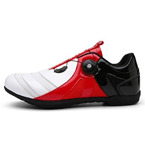 DUOER Men Cycling Shoes Athletic Women Mountain Racing Bike Shoe Training Sidebike Northwave Shoes MTB Road Sneakers Tenue Vtt Homme (Color : Whiteredblack, Shoe Size : 6)