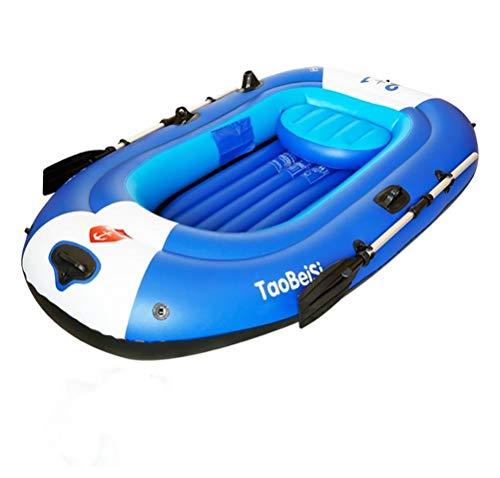 4-Personen-Ausflug Aufblasbares Kajak-Angriffsboot-Set Mit Aluminium-Rudern Und Luftpumpe - Aufblasbares Pool-Strandspielzeug Angler- Und Freizeitboot Zum Sitzen Auf Einem Leichten Blauen Fischerboot
