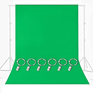 M-Aimee 9.8x9.8FT Green Photography Backdrop, Green Backdrop with Ring Metal Holding Clips, Solid Color Green Screen Photo Backdrop, Studio Photography Backdrop for Studio Video Photo Photo Shot (Green)