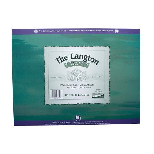 Daler Rowney: Langton: 12 Hojas de papel para Acuarelas, Espiraladas, 20x16in, (300gsm) NOT (Sin Textura)