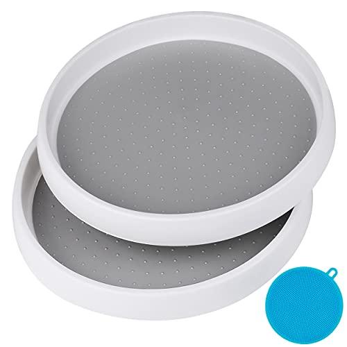 Inpher 2 Stück Drehteller, Drehbarer Rondell Gewürzregale, Weiß und Grau Gewürzhalter, Dreh Organizer aus Kunststoff, für Küchen Schränken Kühlschränken Schlafzimmer Bad zur Aufbewahrung