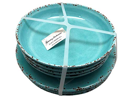 Tommy Bahama Rustic Crackle Turquoise Melamine Plates And Salad/Soup/Dessert Bowls | Set Of Four Each | Indoor Outdoor Dinnerware