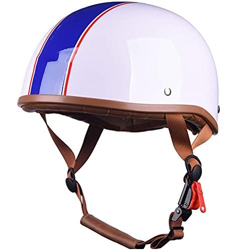 ACEMIC Casco de motocicleta para adulto, casco de motocicleta Pilot German Chopper Prince para casco de motocicleta Cruiser Scooter, casco de media cara, certificación ECE A, L