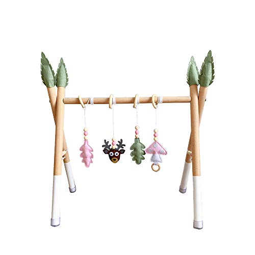 HB.YE Babyspielzeug aus Holz,Aktivcenter mit höhenverstellbaren Spiel-und Greiftrainer,Anhänger Baby-Fitness-Spielzeug (C-15)