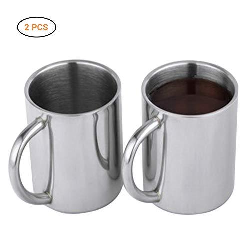 Hihey Roestvrijstalen geïsoleerde drinkbeker met handvat theekopje koffiemok dubbele lagen verwarmer 220 ml, water bier koffiekopje, koffiebeker, als een leuk cadeau