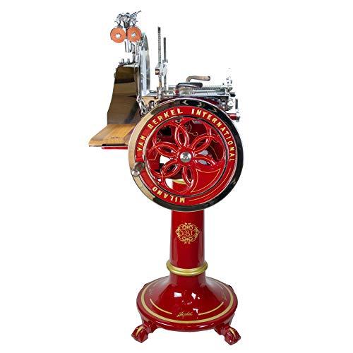 Palatina Werkstatt ® Berkel Volano L16 Aufschnittmaschine mit Schwungrad | rot | +Standfuß | + Fassholzbrett | sofort lieferbar | VK: 14099,- €