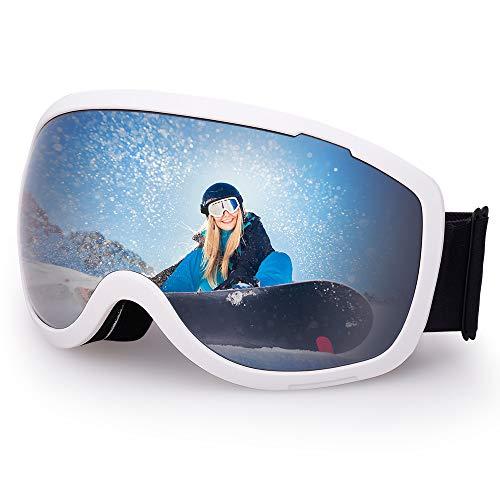 Avoalre OTG Skidmask Vuxen Skidglasögon Herr Kvinnor Snowboard Snöskydd Anti-UV Lämplig för Utomhusglasögon Cykel Moto Cross - Silver