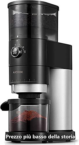 Kaffeemühle Elektrisch | AICOOK Elektrische Kaffeemühle mit Kegelmahlwerk in Edelstahl | Verstellbare Kaffeemühle mit 18 präzisen Mahleinstellungen | 240g Kaffeebohnen | 150W | Schwarz matt