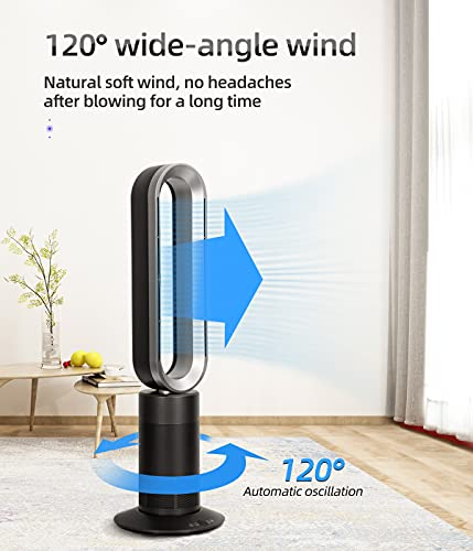 1950W Heater Fan, 33.5 inch Tower Fan,10 Speeds & 9 Hours Timer, 180 ° Osillating Bladeless Fan, with Remote Control, Air Circulator Fan for Room (Grey Silver)…