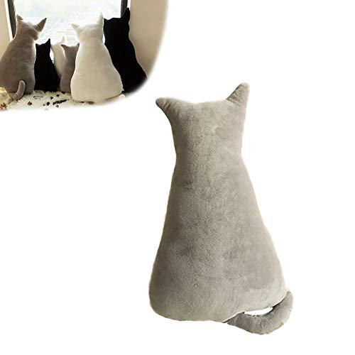 1 x lustiges Kissen in Katzenform, gefülltes Tierkissen für Sofa, Stuhl, Plüsch, Plüsch-Spielzeug, Puppen für Heimdekoration, Geschenk für Kinder (grau, 30 cm)