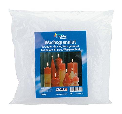Glorex 6 8601 0 - Wachsgranulat in Pastillenform, 1000 g, Kerzenwachs auf Paraffinbasis, zur Kerzenherstellung, gebrauchsfertig