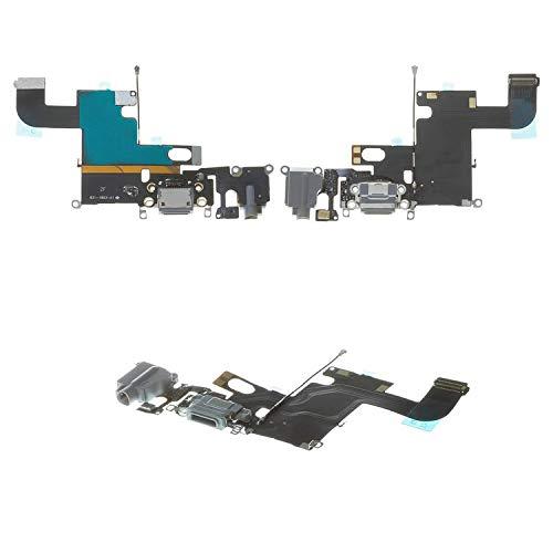 Flex Cable Reparación Piezas de Repuesto Compatible con iPhone 6, (conector de auriculares, conector de carga, negro, con micrófono, con componentes, AAA)