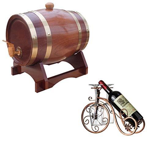 Eiken veroudering vat 3L, Houten wijnvat Dispenser, Geschikt voor het maken van wijn of het opslaan van uw eigen wijn, Cocktail, Likeur, Honing, enz. (praktisch en duurzaam)