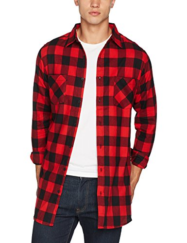 Urban Classics Side-Zip Long Checked Flanell Shirt Chemise Casual, Multicolore (Blk/Red 00044), X-Large Homme