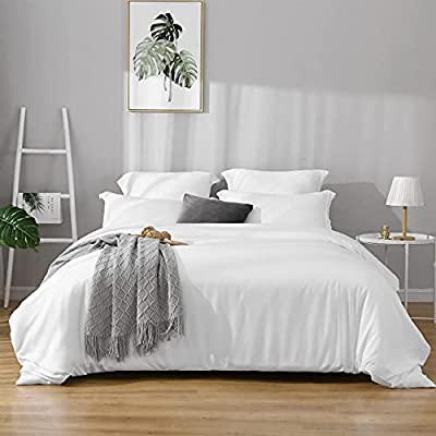 Duvet Covers Queen Size - Ultra Soft and Breathable Bedding Comforter Cover Set Washed Microfiber 3 Pieces with Zipper Closure Duvet Cover and 2 Pillow Shams (White) from BBANGD